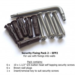 """Security Fixing Pack 2 - 10 x 1.1/2"""" security screws + key (wall install)"""
