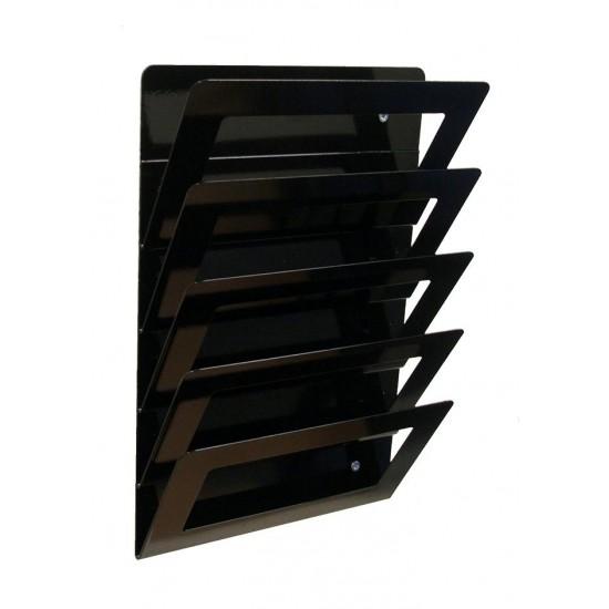 Magazine Wall Rack 5 Tier - Black Version